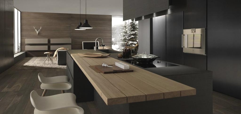 Cucina penisola total black canuto costruzioni for Case moderne interni cucine